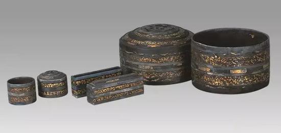 贴金箔彩绘神兽云气纹五子漆奁 西汉 扬州博物馆藏
