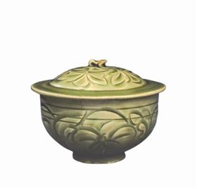 北宋耀州窑青瓷刻花盖缸鉴赏